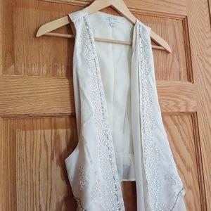 Vtg drape vest beaded sequined chiffon so pretty!
